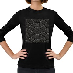Tile Emboss Luxury Artwork Depth Women s Long Sleeve Dark T Shirts