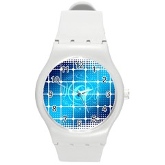 Tile Square Mail Email E Mail At Round Plastic Sport Watch (m)