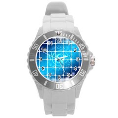 Tile Square Mail Email E Mail At Round Plastic Sport Watch (l)