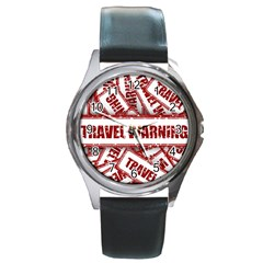 Travel Warning Shield Stamp Round Metal Watch