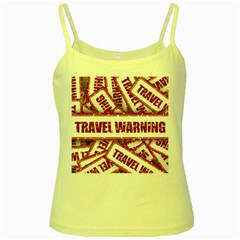Travel Warning Shield Stamp Yellow Spaghetti Tank