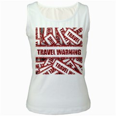 Travel Warning Shield Stamp Women s White Tank Top