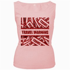 Travel Warning Shield Stamp Women s Pink Tank Top