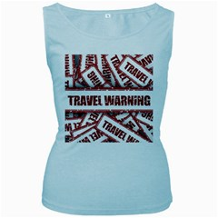 Travel Warning Shield Stamp Women s Baby Blue Tank Top