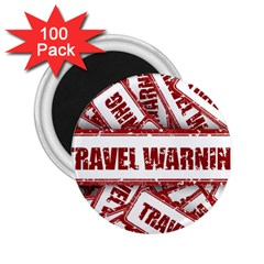 Travel Warning Shield Stamp 2 25  Magnets (100 Pack)