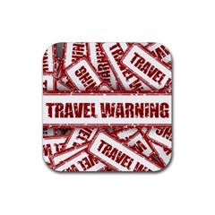 Travel Warning Shield Stamp Rubber Square Coaster (4 Pack)