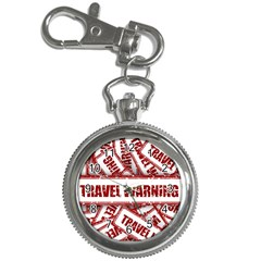 Travel Warning Shield Stamp Key Chain Watches