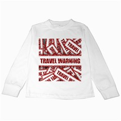 Travel Warning Shield Stamp Kids Long Sleeve T Shirts