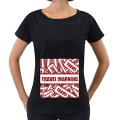 Travel Warning Shield Stamp Women s Loose Fit T Shirt (black)