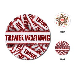 Travel Warning Shield Stamp Playing Cards (round)