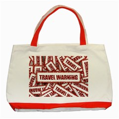 Travel Warning Shield Stamp Classic Tote Bag (red)