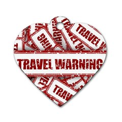 Travel Warning Shield Stamp Dog Tag Heart (one Side)