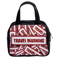 Travel Warning Shield Stamp Classic Handbags (2 Sides)