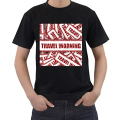 Travel Warning Shield Stamp Men s T Shirt (black)