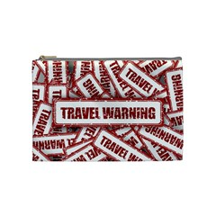 Travel Warning Shield Stamp Cosmetic Bag (medium)