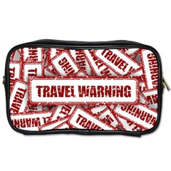 Travel Warning Shield Stamp Toiletries Bags 2 Side