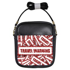 Travel Warning Shield Stamp Girls Sling Bags