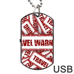 Travel Warning Shield Stamp Dog Tag Usb Flash (two Sides)