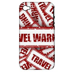 Travel Warning Shield Stamp Apple Iphone 4/4s Hardshell Case (pc+silicone)