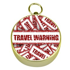 Travel Warning Shield Stamp Gold Compasses