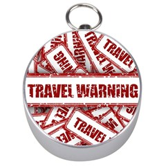 Travel Warning Shield Stamp Silver Compasses