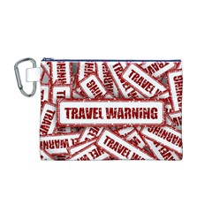 Travel Warning Shield Stamp Canvas Cosmetic Bag (m)