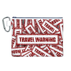 Travel Warning Shield Stamp Canvas Cosmetic Bag (l)