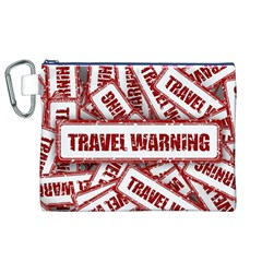 Travel Warning Shield Stamp Canvas Cosmetic Bag (xl)