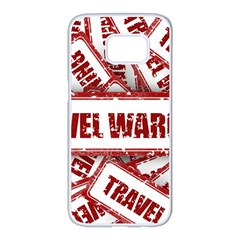 Travel Warning Shield Stamp Samsung Galaxy S7 Edge White Seamless Case
