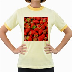 Strawberries Berries Fruit Women s Fitted Ringer T Shirts