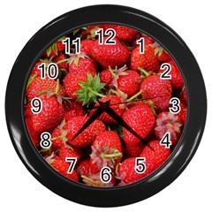 Strawberries Berries Fruit Wall Clocks (black)