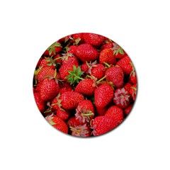 Strawberries Berries Fruit Rubber Coaster (round)