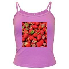 Strawberries Berries Fruit Dark Spaghetti Tank