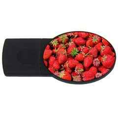 Strawberries Berries Fruit Usb Flash Drive Oval (4 Gb)