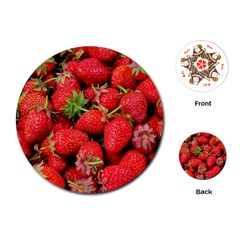 Strawberries Berries Fruit Playing Cards (round)