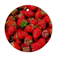 Strawberries Berries Fruit Round Ornament (two Sides)