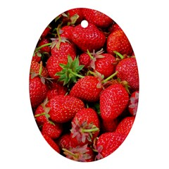 Strawberries Berries Fruit Oval Ornament (two Sides)