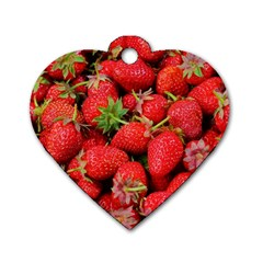 Strawberries Berries Fruit Dog Tag Heart (two Sides)