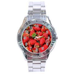 Strawberries Berries Fruit Stainless Steel Analogue Watch