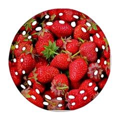 Strawberries Berries Fruit Round Filigree Ornament (two Sides)
