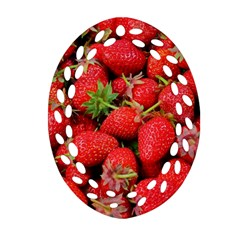 Strawberries Berries Fruit Ornament (oval Filigree)