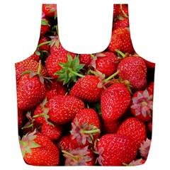 Strawberries Berries Fruit Full Print Recycle Bags (l)