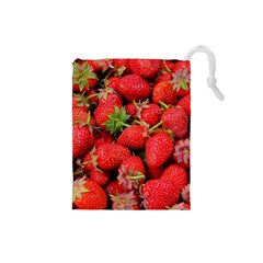Strawberries Berries Fruit Drawstring Pouches (small)