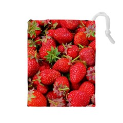 Strawberries Berries Fruit Drawstring Pouches (large)