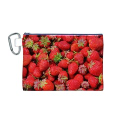 Strawberries Berries Fruit Canvas Cosmetic Bag (m)