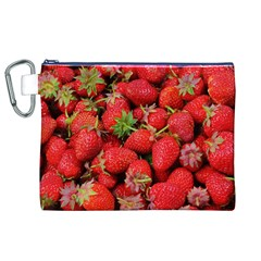 Strawberries Berries Fruit Canvas Cosmetic Bag (xl)