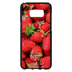 Strawberries Berries Fruit Samsung Galaxy S8 Plus Black Seamless Case