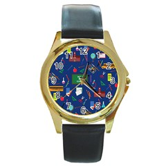 Back To School Round Gold Metal Watch