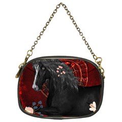 Awesmoe Black Horse With Flowers On Red Background Chain Purses (two Sides)