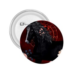 Awesmoe Black Horse With Flowers On Red Background 2 25  Buttons